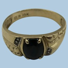 VINTAGE 10k Yellow Gold Faceted Onyx Men's Ring  Size 10 1/2