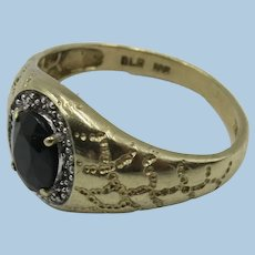 VINTAGE Man's 10k Yellow Gold Black Onyx Faceted  Ring Size 10