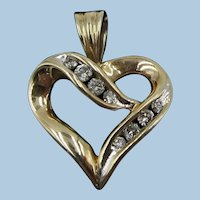 VINTAGE 10K Yellow Gold  8 Diamonds  Small Heart Pendant