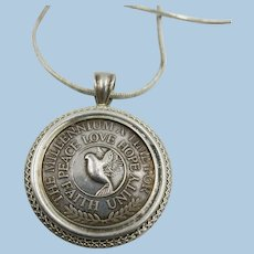 VINTAGE 2000 Millennium Dove Faith- Peace-Love- Hope  Unity Coin Necklace