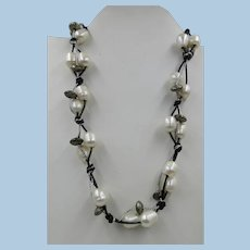 VINTAGE Hand Crafted Fresh Water Pearls and Silver Colored 18 Inch Necklace with Button Toggle