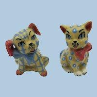 VINTAGE Ceramic Arts Studio Gingham Dog and Calico Cat  Salt and Pepper