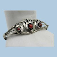 VINTAGE Sterling Light Weight  Bear Claw Bracelet with Coral