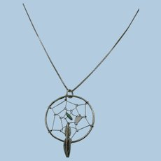 VINTAGE  18 Inch Sterling Chain With  1 Inch Dream-Catcher
