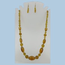 VINTAGE  Butterscotch Yellow Glass Necklace and Earrings 24 Inch Long