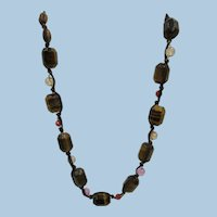 VINTAGE 80's Silk Strung Tiger Eye Chunk 21 Inch Necklace