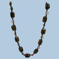 VINTAGE 80's Silk Strung Tiger Eye Chunk 21 Inch Necklace