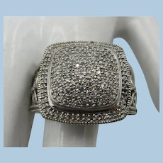 VINTAGE  Large Sterling Ring Covered with Diamonds  Size 9 1/2