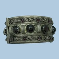 VINTAGE Israel Made  Sterling Wide With Garnet Style Cabs  Really Old