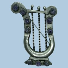 VINTAGE Mexican Silver Lyre  with Natural Amethyst Cabochons