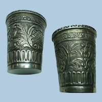 VINTAGE Amano Sterling Peruvian Repousse Beaker Cups  Two
