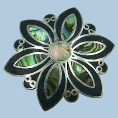 VINTAGE Mexican Sterling Flower Pedal With Crush Shell and Abalone Centers