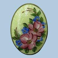 VINTAGE l Guilloche Enamel Small Flower Brooch Victorian