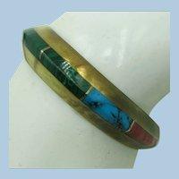 VINTAGE Native American  Cast Brass Bracelet with 8 channel gem sections