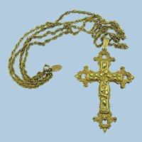 VINTAGE Miriam Haskell Cross and Double 20 Inch Chain