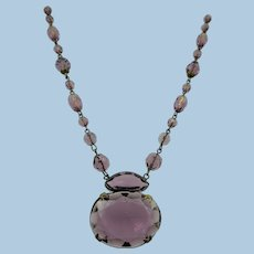 VINTAGE Art Deco 1940s Czech Amethyst Glass Necklace Made in Czechoslovakia