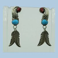 VINTAGE Native American Long Sterling Earrings  2 Inches Long