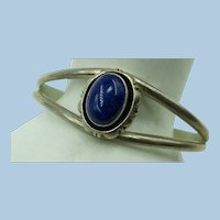 VINTAGE Cuff Bracelet with Lapis Stone Signed and Sterling