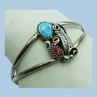 VINTAGE Native American Style Sterling Bracelet with Turquoise and Coral