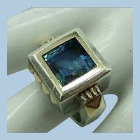 VINTAGE Designer Ring  Sterling with 14k Gold Trim and Blue Topaz Gem  Size tight 7