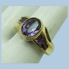 VINTAGE 14k Yellow Gold Amethyst Ring Size 6 1/2
