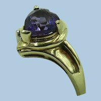VINTAGE 10k Yellow Gold Amethyst Heart Beautiful Ring  Size 6