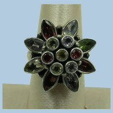 VINTAGE   Sterling  Flower  Fashion Ring  Size 8