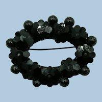 VINTAGE Black Glass Brooch  For your Coat
