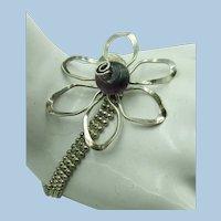 VINTAGE Sterling 925 Bracelet with Amethyst Center Flower  7 1/4 inch