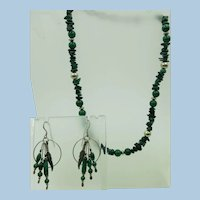 VINTAGE  Carolyn Pollack Relios Malachite Earrings and Necklace.