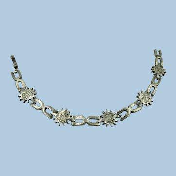 VINTAGE Shiny Sun 925  Link Bracelet 7 1/2 Inches