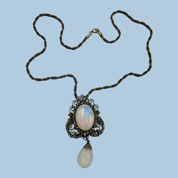 VINTAGE 50'S Dangle Simulated Moon Stone Necklace