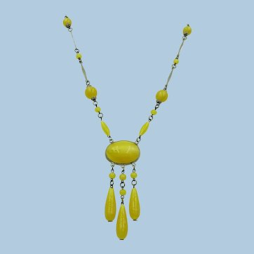 VINTAGE  Thermo-plastic and Glass Beaded Necklace  Bright  Yellow