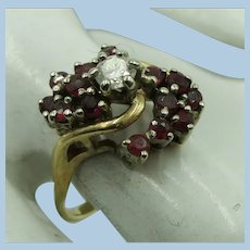VINTAGE 14k Yellow Gold Ruby and Diamond Ring  Size 5