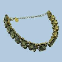 VINTAGE  60's  Logo CR Olive Green Tint Rectangle Sets Bracelet 7 Inches