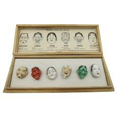 VINTAGE  Lucky Seven Porcelain Gods Buttons (Masks For No Play)  Kojima Art Porcelain Japan