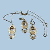 VINTAGE  HDM & Co 3 Piece Gold Filled Earrings and Necklace Victorian Style