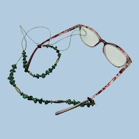 VINTAGE   Malachite and Sterling Eye Glasses Holder or Lanyard