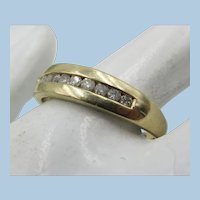 VINTAGE 10k Yellow Gold Wedding Band with 10 Diamonds  Size 10