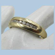 VINTAGE 10k Yellow Gold Wedding Band with 10 Diamonds  Size 10