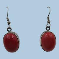 VINTAGE  925 Hook  Red 1 1/2 Dangle Earrings