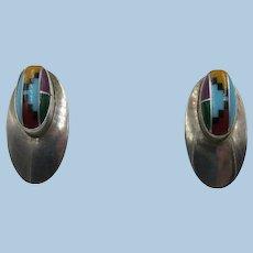 VINTAGE Zuni Made Channel Work Earrings   Pierced