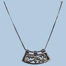 VINTAGE 925 Sterling Snake Necklace With Rocker Pendant Lovely