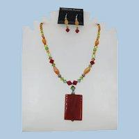 VINTAGE 80's  Swarovski Crystal Necklace and Earrings  Carnelian Pendant