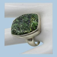 VINTAGE Natural Green Agate Druzy Ring  Pretty   Size 9
