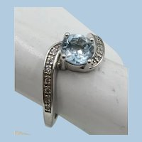 VINTAGE  Simulated Aquamarine  Ring  with 2 rows of real diamonds  size 7