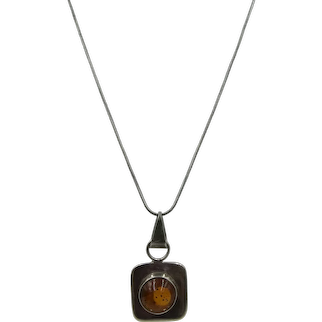 VINTAGE Sterling Necklace and Sterling Pendant with Amber Set