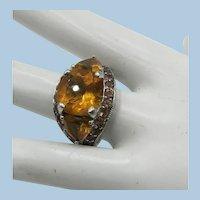 VINTAGE Sterling Large Citrine Ring  Size 10