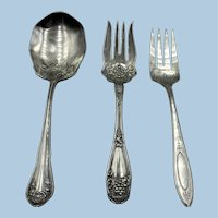 VINTAGE  Three Large  Serving Pieces Silver Plate 2 Meat Forks Large Spoon