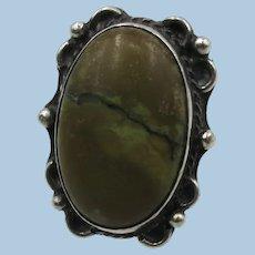 VINTAGE  Old Pawn Ring Size 7 Dark Brown Yellow Turquoise
